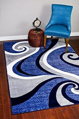 0327 Blue White Gray 5 x 7 Area Rug Abstract Carpet by Persi
