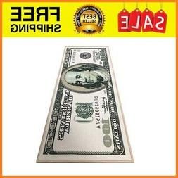 "100 Dollar Bill Money Runner Rug - 22""x53"" Non Slip Home Flo"