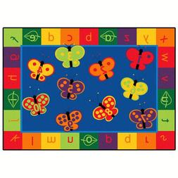 Carpets for Kids 123 ABC Butterfly Fun Rectangle Rug - 65 Le