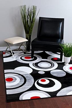 175 Gray Black White Red 5'2 x 7'2 Modern Abstract Area Rug