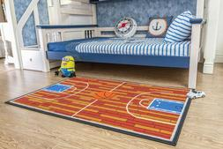"3'3""x5' Basketball court Ground Kids play Area Rug Anti Skid"