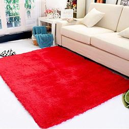 DODOING 3-5 Days Delivery Red Fluffy Living Room Carpet Shag