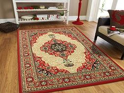 Large Area Rug Oriental Carpet 8x11 Living Room Rugs Red 8x1