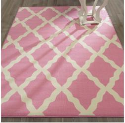 Area Rug 5' x 7' Pink Area Rug Carpet Home Bedroom Rectangle