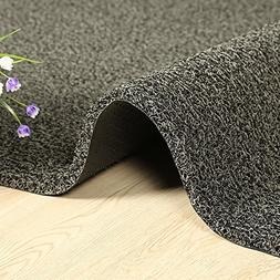 HUAHOO Black/Gray Non Slip Doormat Entrance Mat for Lobbies