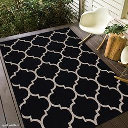 Allstar 5 X 7 Black with Ivory Indoor Outdoor With Trellis P