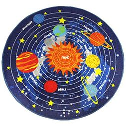 HUAHOO Blue Solar System Kids Area Rug Educational Learning