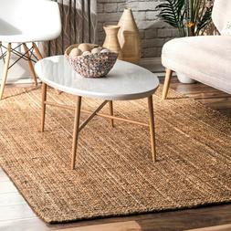 Braided Rugs Casual Handmade Jute Solid Area Rug Indoor Outd