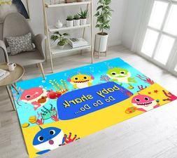 Cartoon Baby Shark Kids Play Area Rugs for Living Room Carpe