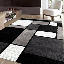 "Rug Decor Contemporary Modern Boxes Area Rug, 5' 3"" by 7' 3"""