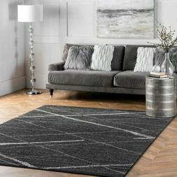 nuLOOM Contemporary Modern Solid and Stripes Area Rug in Dar