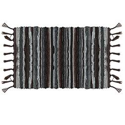 Ojia Cotton Reversible Rag Rug Hand Woven Multi Color Stripe