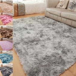 Fluffy Area Rug Shaggy Tie-Dyed Floor Carpet Mat for Bedroom