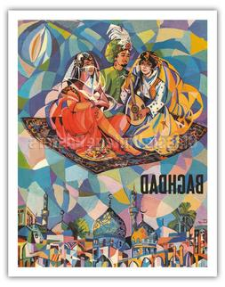 Fly To Baghdad Iraq - Flying Carpet - 1950 Vintage World Tra