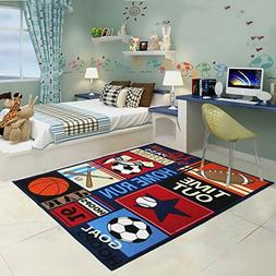 HUAHOO Fun Sport Kids Rugs Nylon Carpet Soccer Baseball Foot