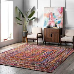 nuLOOM Hand Made Bohemian Braided Cotton Area Rug in Multi C