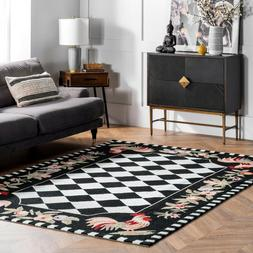 nuLOOM Hand Made Country and Floral Rooster Area Rug in Blac