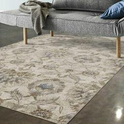 Allstar Rugs Ivory and Beige Floral Rectangular Area Rug Ivo