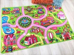 Handcraft Rugs-Dream land driving cars play-mat Pink/Green a