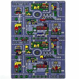 "Kids Children CITY MAP Print Educational 39"" x 58"" Area Rug"