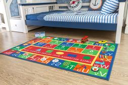 Kids Rug ABC Alphabet Numbers and Shapes Educational Area Ru