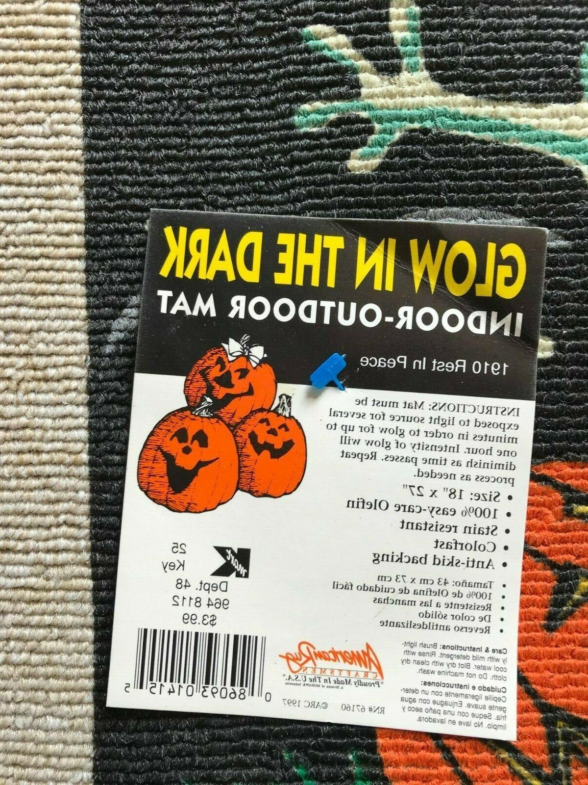 """1990's American Rug Halloween Welcome / 18"""" 27"""" in Ghost"""