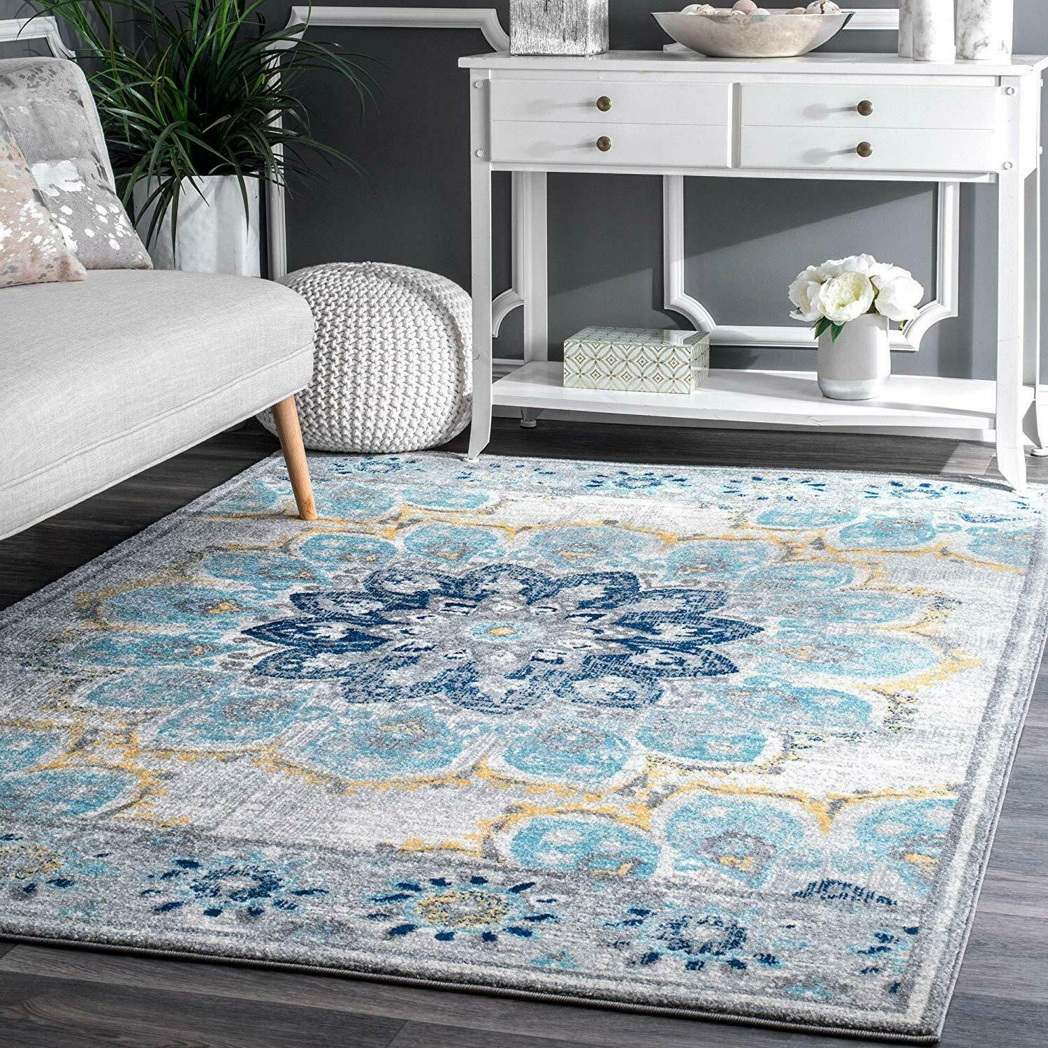 "Carpet Area Rug 5' x 7' 5"" Shabby Chic Distressed Colorful F"