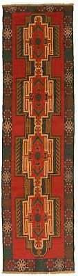 """Hand-knotted Runner 2'8"""" x 9'5"""" Traditional Vintage Wool Rug"""