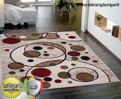 Modern Home Decor Carpet Rug with Red Circles Design Living