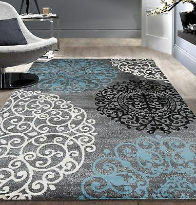 """Floral Indoor Soft Area Rug 5'3"""" x 7'3"""" Gray"""