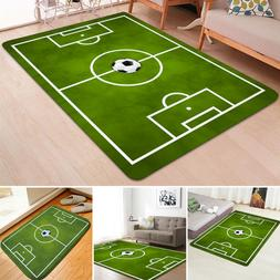 Large Green Football Soccer Pitch Rug Kids Play Floor Carpet