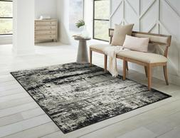 Modern Area Rugs for Living Room 8x10 Black/Navy Gray Dining