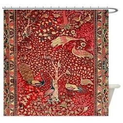 CafePress Persian Rug Birds Flowers Trees Shower Curtain