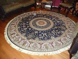 Persian Silk Rugs 6' Round Rugs Navy Silk Rug Circle Blue Ca