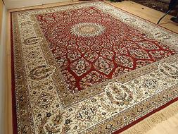 Silk Persian Rugs Red 8x10 Hand Knotted Fringes 5x8 Traditio