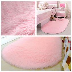 Pink Shaggy Rug Soft Children Room Mat Modern Area Home Deco