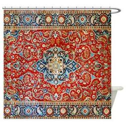 CafePress Red Blue Antique Persian Rug Shower Curtain
