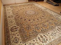 Stunning Silk Persian Rug Gold 8x12 Living Room Gold Carpet