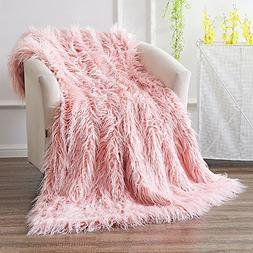 Ojia Super Soft Fuzzy Shaggy Mongolian Lamb Throw Blanket Pl